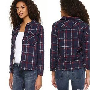 SUNDRY Check Flannel Sherpa ButtonUp Anthropologie